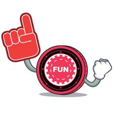 Foam finger funfair coin mascot cartoon vector