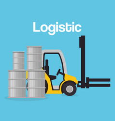 Forklift vehicle with barrels logistic services vector