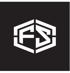 fs logo monogram with hexagon shape and piece vector image