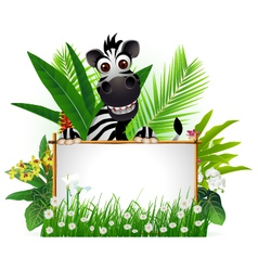 funny zebra with blank sign and tropical forest vector image