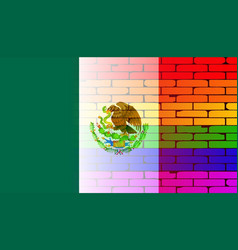 Gay rainbow wall mexico flag vector