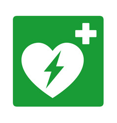 green automated external defibrillator aed sign vector image