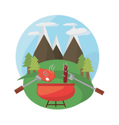 grill bbq meal mountains landscape vector image