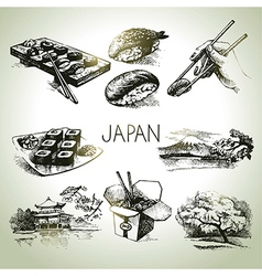 Hand drawn vintage Japanese set vector image