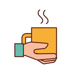 hand holding coffee cup hot beverage vector image