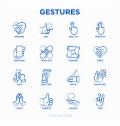 hands gestures thin line icons set vector image