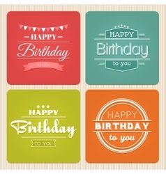Happy birthday typography label set vector