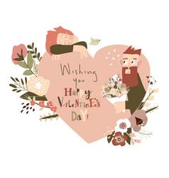 happy couple in love celebrating valentines day vector image