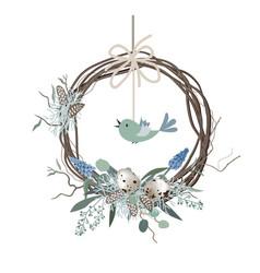 happy easter card wreath in scandinavian vector image