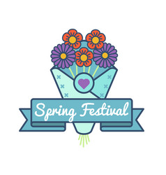 Happy spring festival greeting emblem vector