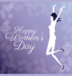 Happy womens day- jumping girl poster bubbles vector