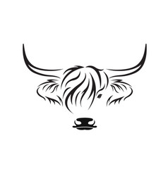 highland cow head design on white background vector image