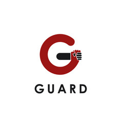 Holding hand letter g guard logo template on vector