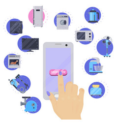 home appliances buying online on phone flat vector image