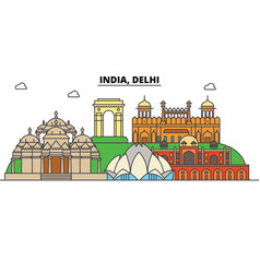India delhi hinduism city skyline architecture vector