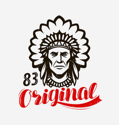 Indian chief native american emblem vector