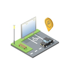 isometric of car parking place with billboard vector image