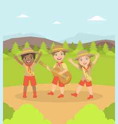 kids scouts characters in uniform camping on vector image