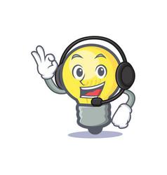 Light bulb character cartoon with headphone vector