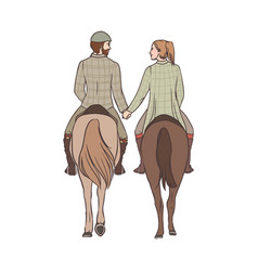 man and woman riding horses together holding vector image