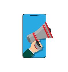 Megaphone in hand peeking out phone vector