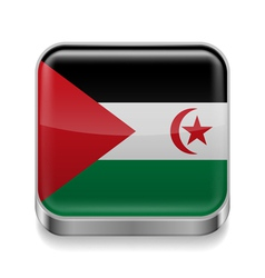 Metal icon of Sahrawi Arab Democratic Republic vector image