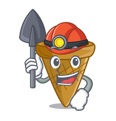 Miner empty wafer cone for ice cream character vector