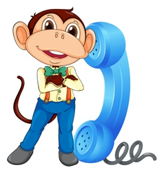 Monkey with receiver vector image