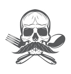 monochrome pattern with skull spoon and fork vector image