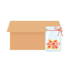 open box and jar glass love hearts charity and vector image