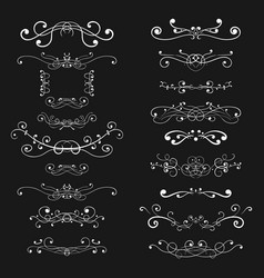 Ornaments and decorative dividers white elements vector