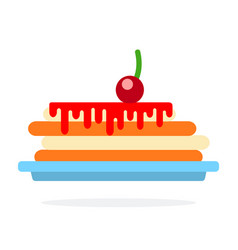 pancake on a plate with cherry sauce flat isolated vector image