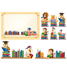 paper frame and many animals reading books vector image