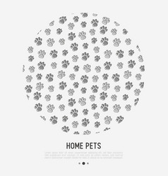 Pet paws concept in circle with place for text vector
