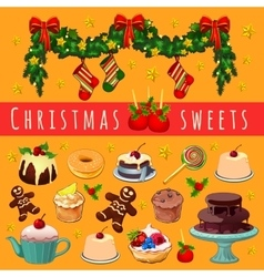 Postcard with Christmas garland and desserts vector