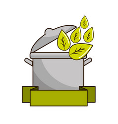 pot kitchen with leaves and ribbon vector image