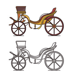 retro dog cart or classic carriagevintage chariot vector image