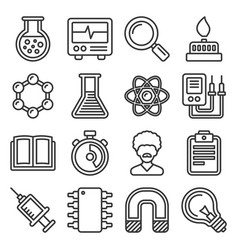 science icons set on white background line style vector image