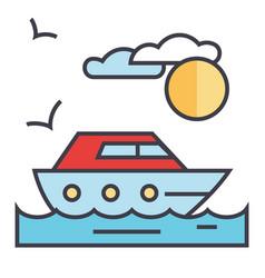 sea travel yacht concept line icon vector image