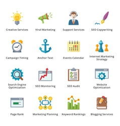 SEO and Internet Marketing Flat Icons - Set 5 vector image