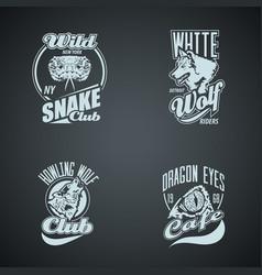 set of vintage wild animal retro logos colored vector image