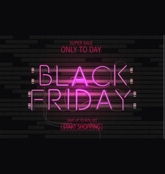set web banner black friday neon sign web vector image