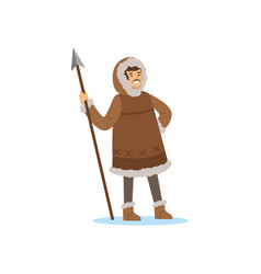 Smiling eskimo inuit chukchi man character in vector