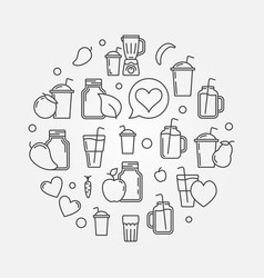 Smoothie round concept in thin vector