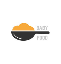 Spoon with mashed like baby food logo vector