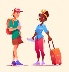 Tourists talk man and woman meet in travel vector