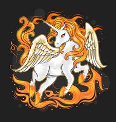 unicorn on fire vector image