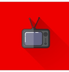 vintage of a retro TV in flat style with long vector image