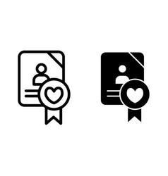 Wedding document line and glyph icon newlyweds vector