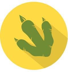 Yellow dinosaur footprint circle flat design icon vector